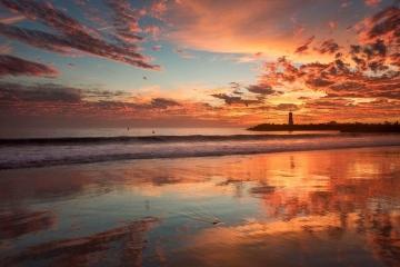 Twin Lakes Beach Fiery Sunset #1