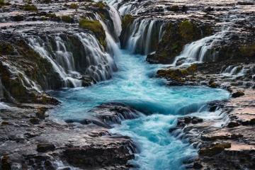 Brúarfoss Glacial Waterfall