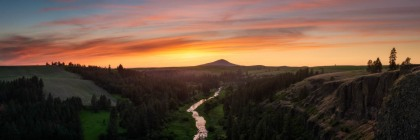 Steptoe Butte and Palouse River Sunset Panorama