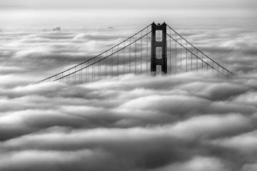 Golden Gate Bridge with Fog in Black and White