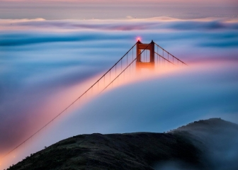 Hawk Hill Sunrise Over Golden Gate Bridge