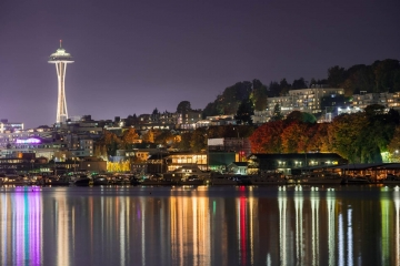 Well after the sun had set, I photographed the Lake Union waterfront with the Space Needle rising above. The city lights reflected in the extremely calm waters.