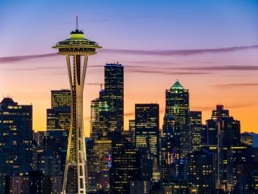 On a crisp morning, I visited Kerry park to photograph sunrise over Seattle' skyline. The Space Needle rises above the bustling metropolis as soft light filled the sky.
