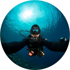 Sometimes, there is nothing left to photograph while SCUBA diving. So, I turned the camera around a snapped this self portrait in Indonesia's Bunaken Marine Park.