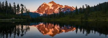 Picture Lake and Mount Shuksan Sunset Panorama