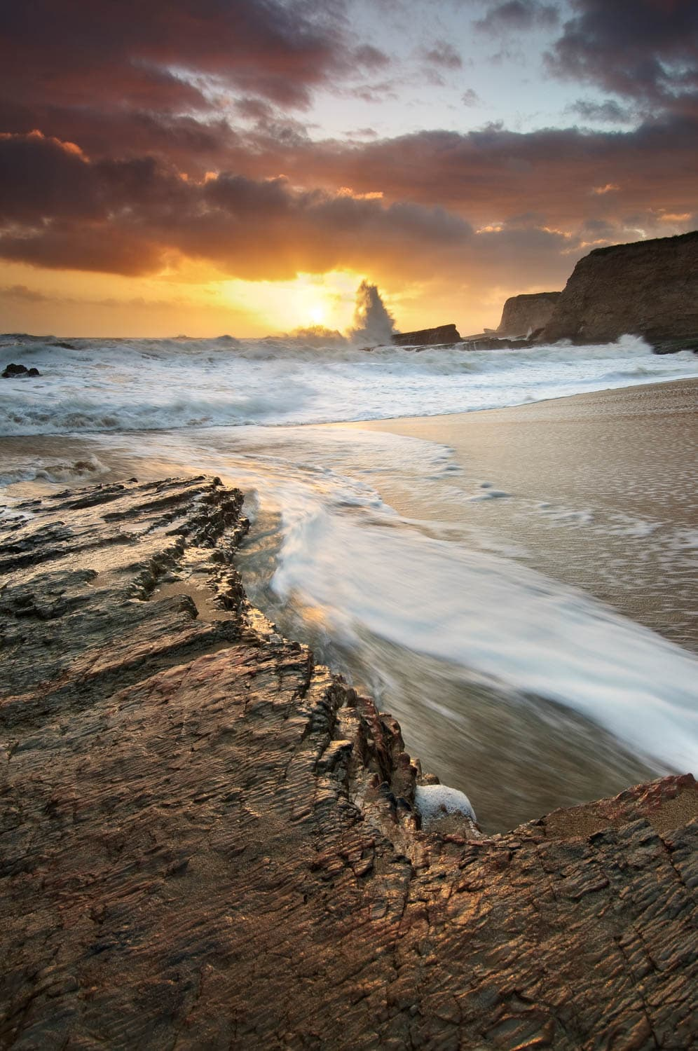Dramatic coastal sunset landscape image