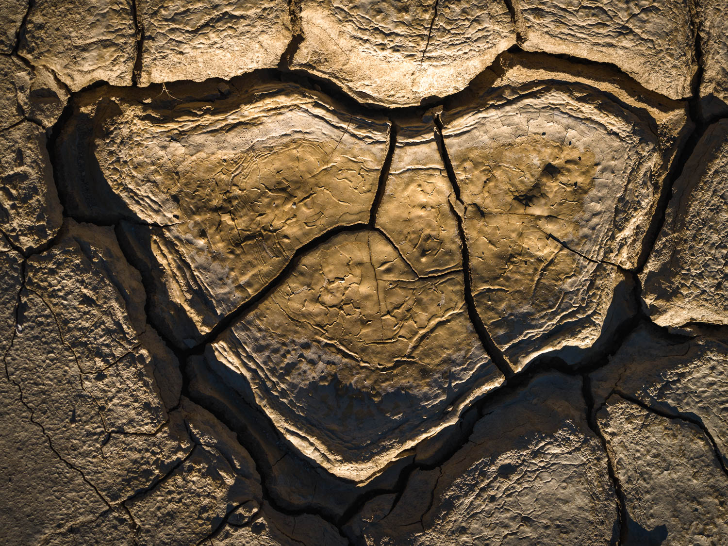 Cracked mud tiles form the shape of a heart in the desert landscape of Death Valley