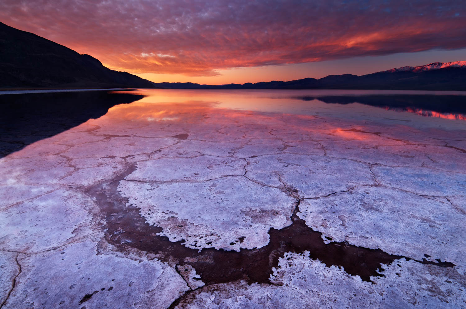 Sunrise over the Badwater Basin Landscape in Death Valley