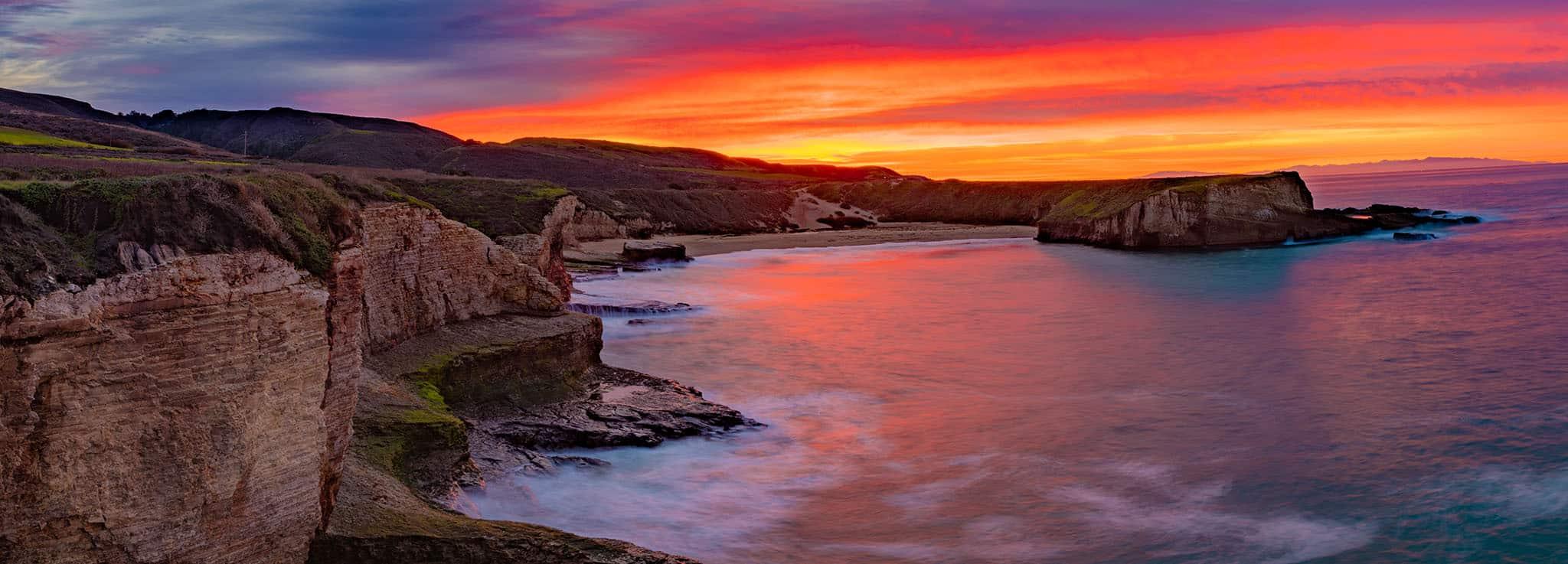 colorful sunrise panorama along California coast