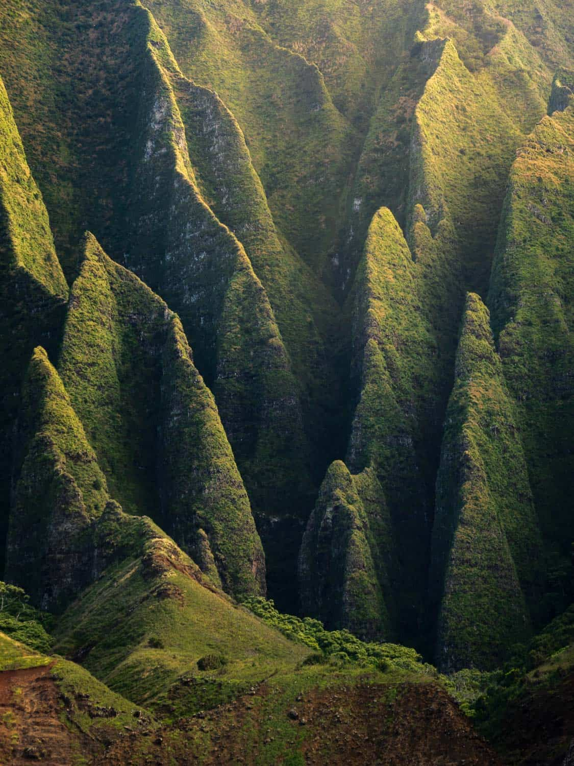 Thin green cliffs converge with warm light
