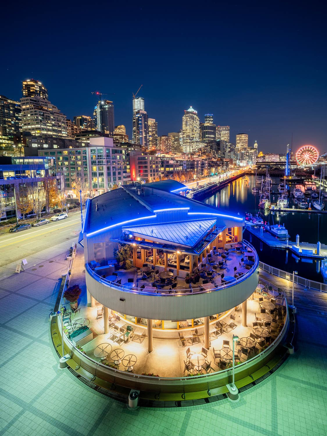 Seattle waterfront of Pier 66 and the Wheel at night
