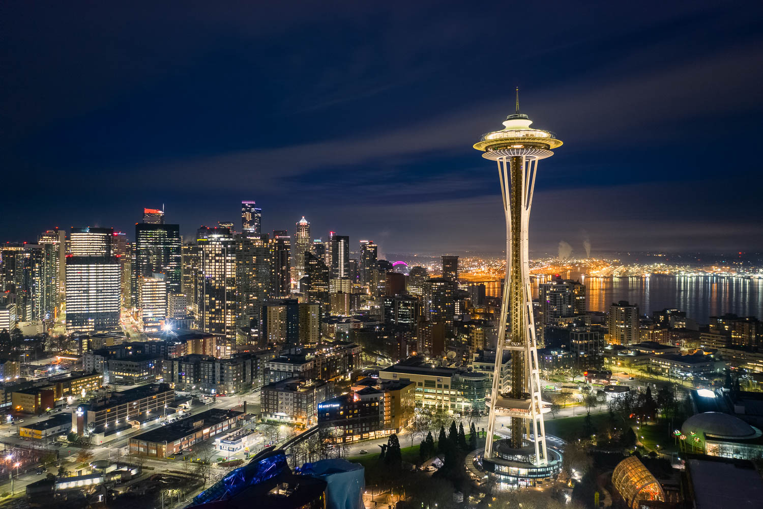 City lights of Seattle skyline and space needle