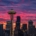 Vivid sunrise over the Space Needle and Seattle
