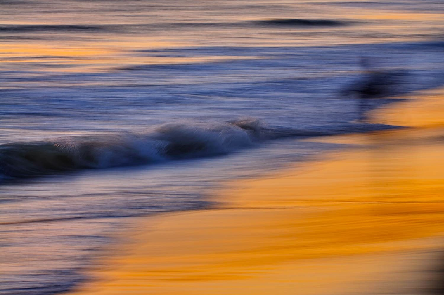 Intentional panning motion with a slow shutter speed creates an abstract scene