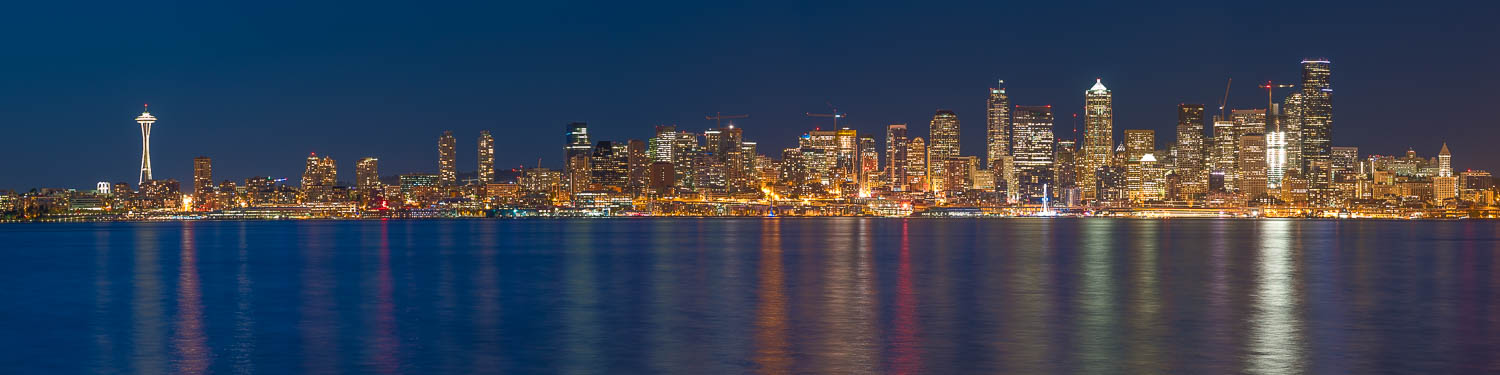 Seattle skyline panorama with city light reflections